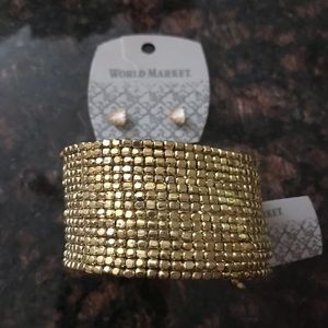 Cost Plus World Market Jewelry - Gold Tone Jewelry Cuff & Earings